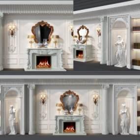 欧式壁炉装饰柜组合3D模型【ID:132690150】