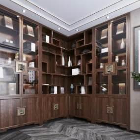 新中式书柜 3D模型【ID:142087505】