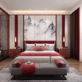 新中式主卧室3D模型【ID:536025226】