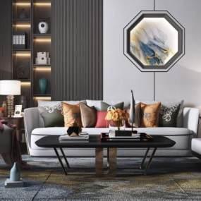 新中式沙发茶几组合3D模型【ID:650934725】