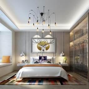新中式风格卧室3D模型 【ID:539373217】