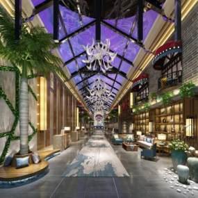 现代酒店大堂3D模型【ID:631611698】