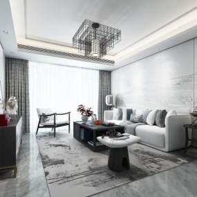 新中式客厅3D模型【ID:542564034】