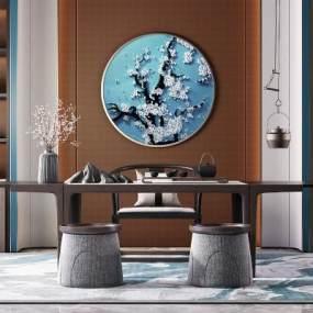 新中式茶室3D模型【ID:643264146】