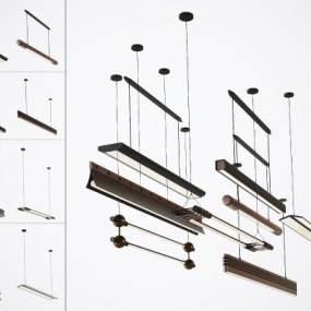 現代辦公室工作室燈管3D模型【ID:752579815】