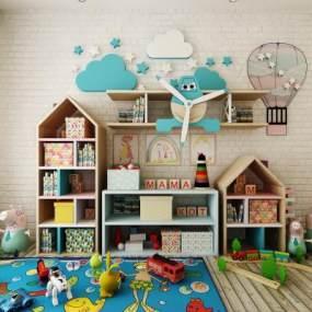 现代儿童玩具边柜陈设品组合3D模型【ID:632882132】