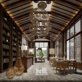 传统中式风格餐厅3D模型【ID:641487252】
