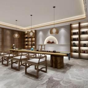 新中式茶室3D模型【ID:643143181】