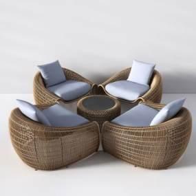 现代户外藤编桌椅沙发茶几3D模型【ID:732696504】