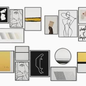 现代照片墙装饰画挂画3D模型【ID:235791917】