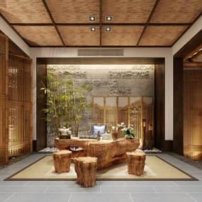 新中式茶室3D模型【ID:634389673】