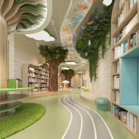 现代幼儿园图书室3D模型【ID:933580845】
