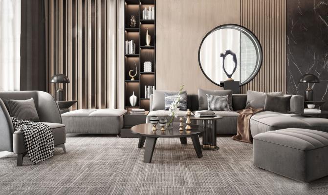 现代组合沙发3D模型【ID:653805756】