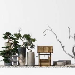 中式园林小景摆设3D模型【ID:245483718】