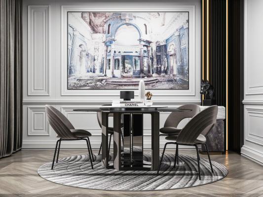 现代轻奢餐桌椅3D模型【ID:852597851】