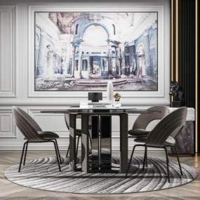 現代輕奢餐桌椅3D模型【ID:852597851】