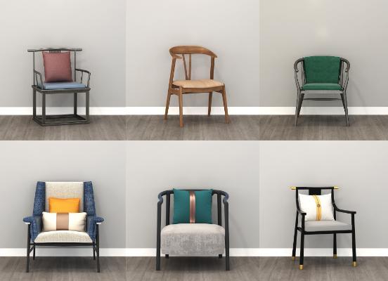 新中式椅子合集3D模型【ID:747350051】