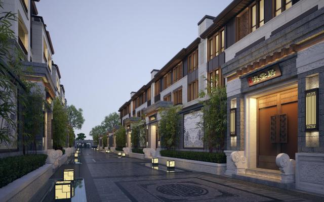 新中式联排别墅建筑3D模型【ID:146342397】