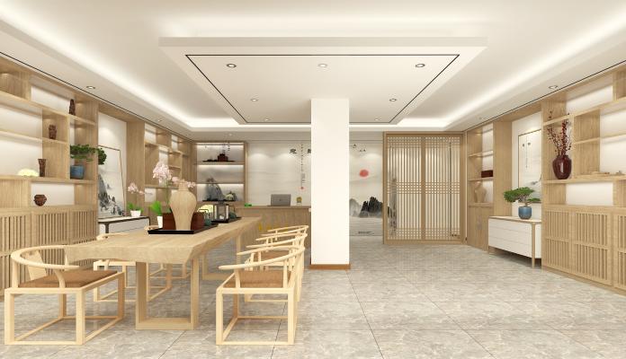 新中式茶馆3D模型【ID:644643699】