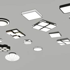 現代吸頂燈組合3D模型【ID:850593062】