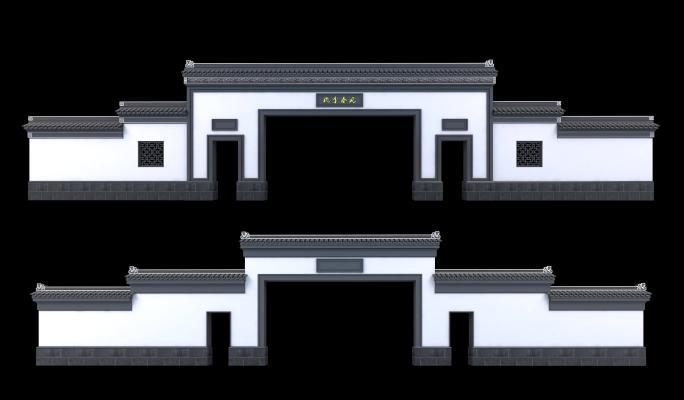 新中式大門3D模型【ID:645876664】