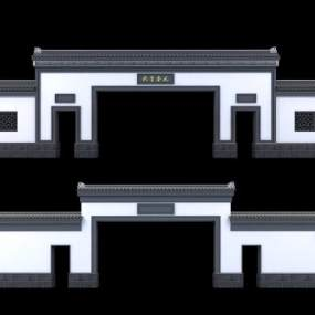 新中式大门3D模型【ID:645876664】
