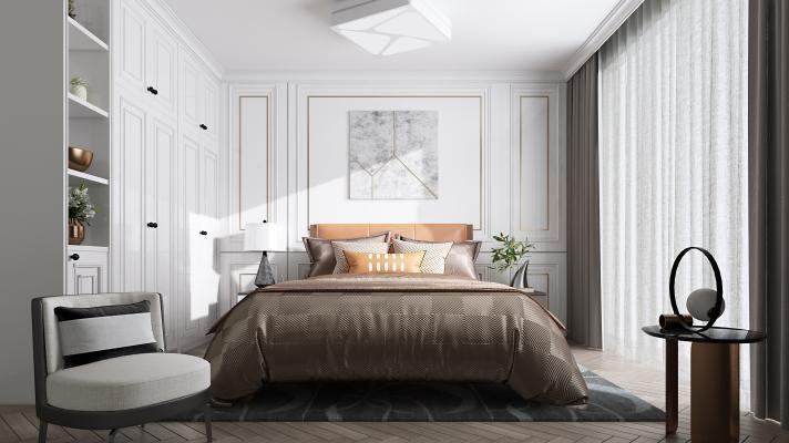 现代卧室3D模型【ID:550680241】