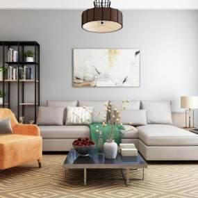 现代沙发茶几组合3D模型【ID:651041788】