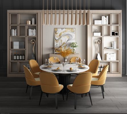 现代轻奢餐桌椅装饰柜组合3D模型【ID:853920825】