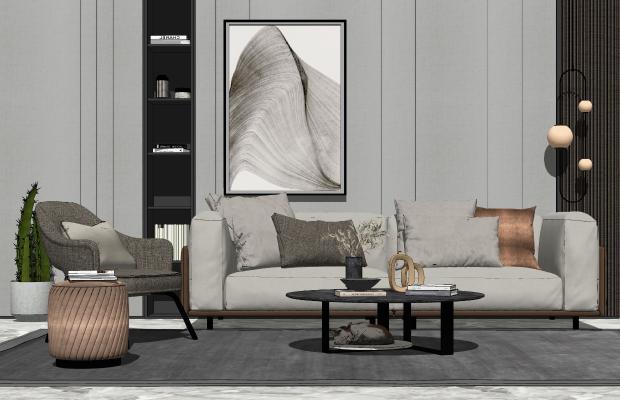 现代轻奢沙发茶几组合SU模型【ID:453843121】