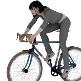 现代骑自行车的女生3D模型【ID:334920007】