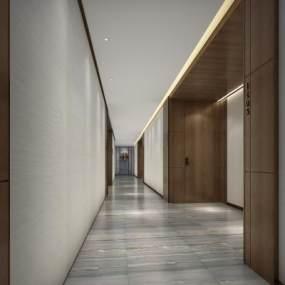 現代酒店客房過道3D模型【ID:747174431】