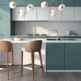现代风格厨房橱柜3D模型【ID:533180354】
