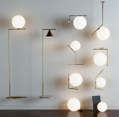 現代吊燈壁燈落地燈組合3D模型【ID:732924826】