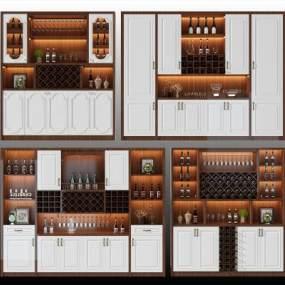 欧式简约酒柜 3D模型【ID:641428206】