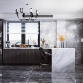 现代厨房吧台3D模型【ID:542362132】