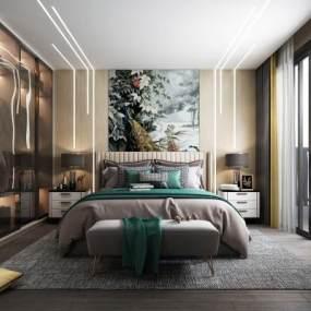 现代轻奢卧室3D模型【ID:548905249】
