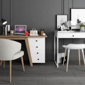 现代简约梳妆台书桌椅组合 3D模型【ID:941423461】