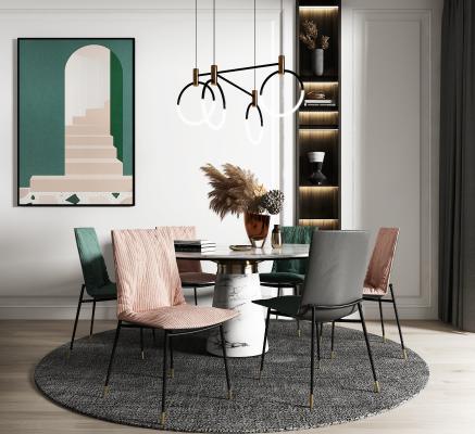 現代餐桌椅組合3D模型【ID:852015855】