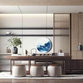 新中式茶室3D模型【ID:643460171】
