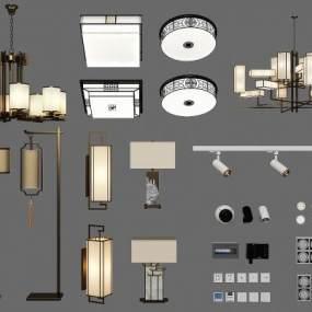 新中式吊灯壁灯落地灯吸顶灯组合3D模型【ID:833025461】