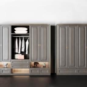 新中式实木衣柜组合3D模型【ID:131930403】