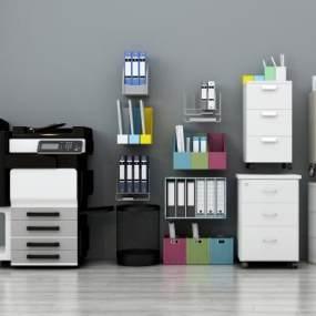 现代打印机复印机文件夹文件柜办公用品组合3D模型【ID:330490090】