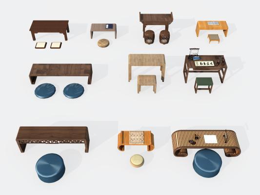 新中式课桌3D模型【ID:743574762】