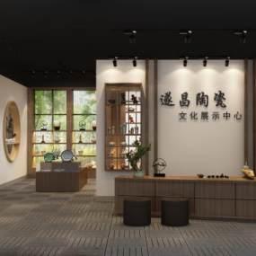 新中式瓷器展厅3D模型【ID:934772719】