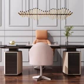 現代辦公書桌寫字桌椅組合3D模型【ID:947531052】