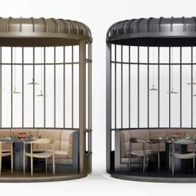 现代圆形卡座餐桌椅组合3D模型【ID:831775832】
