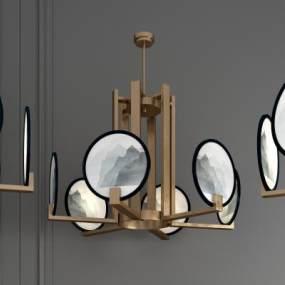 新中式金属扇子吊灯个性吊灯组合 3D模型【ID:742381807】