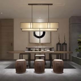新中式茶室3D模型【ID:632879686】