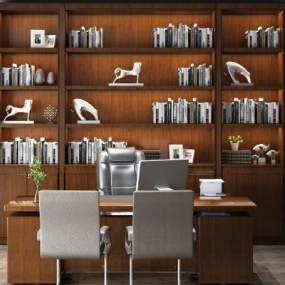 传统中式大班台办公桌老板桌3D模型【ID:930761186】